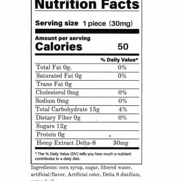 Delta-8 Lollipops Nutrion Facts